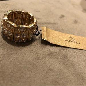 Monet CZ gold tone stretch ring